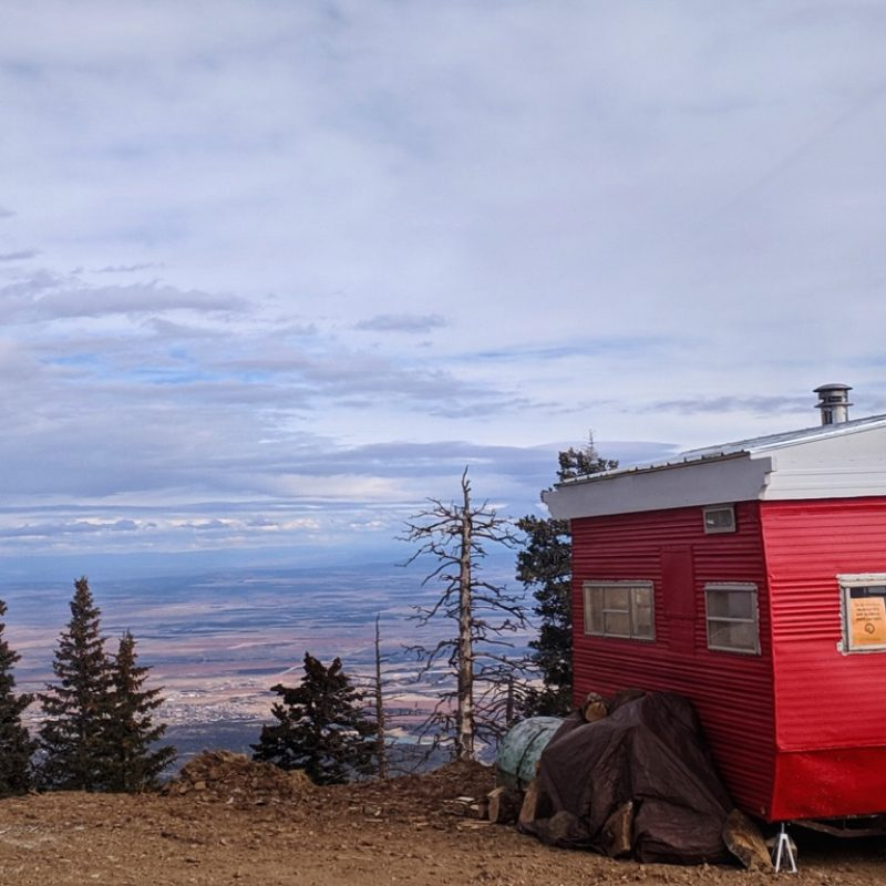Bothy Wagon at Abajo Peak, looking to Monticello Utah